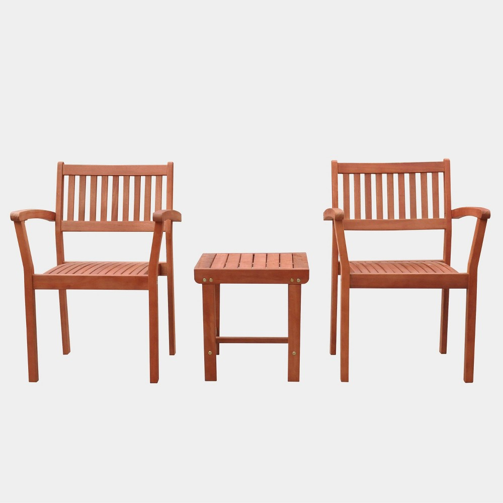 Image of Malibu Outdoor Patio 3pc Wood Dining Set with Stacking Chair