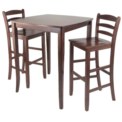 3 Piece Inglewood Set High Table with Ladder Back Bar Stools Wood/Walnut - Winsome - image 1 of 4