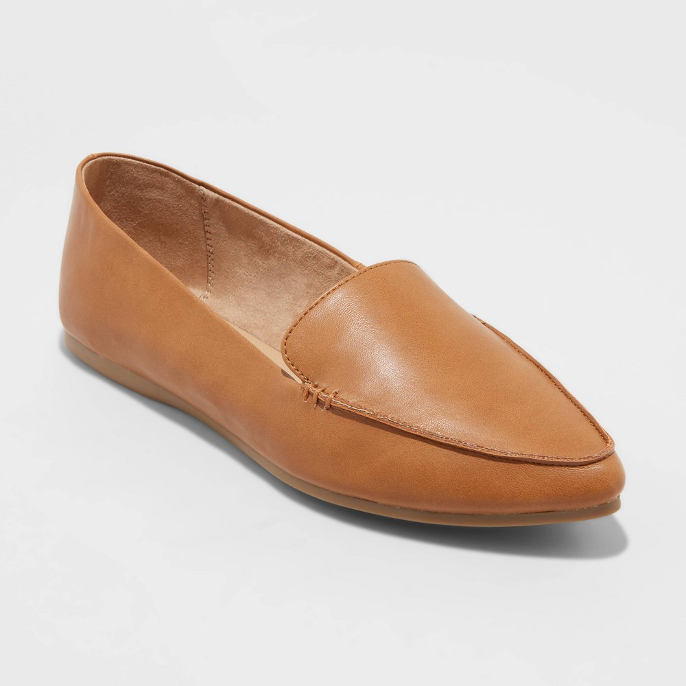 Women 39 S Micah Faux Leather Pointed Toe Loafers A New Day 8482 Cognac 9