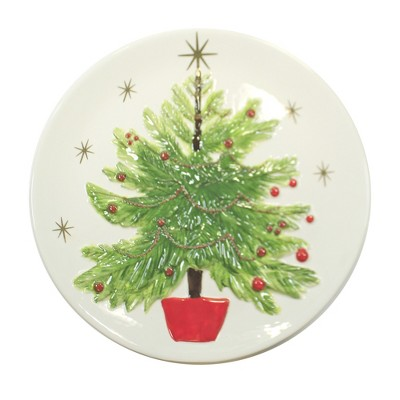 "Tabletop 13.25"" Christmas Tree Platter Hand Painted C & F Enterprises  -  Serving Platters"
