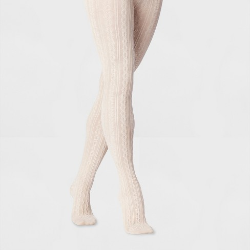 Women's Oatmeal Cable Sweater Tights - Beige - image 1 of 1