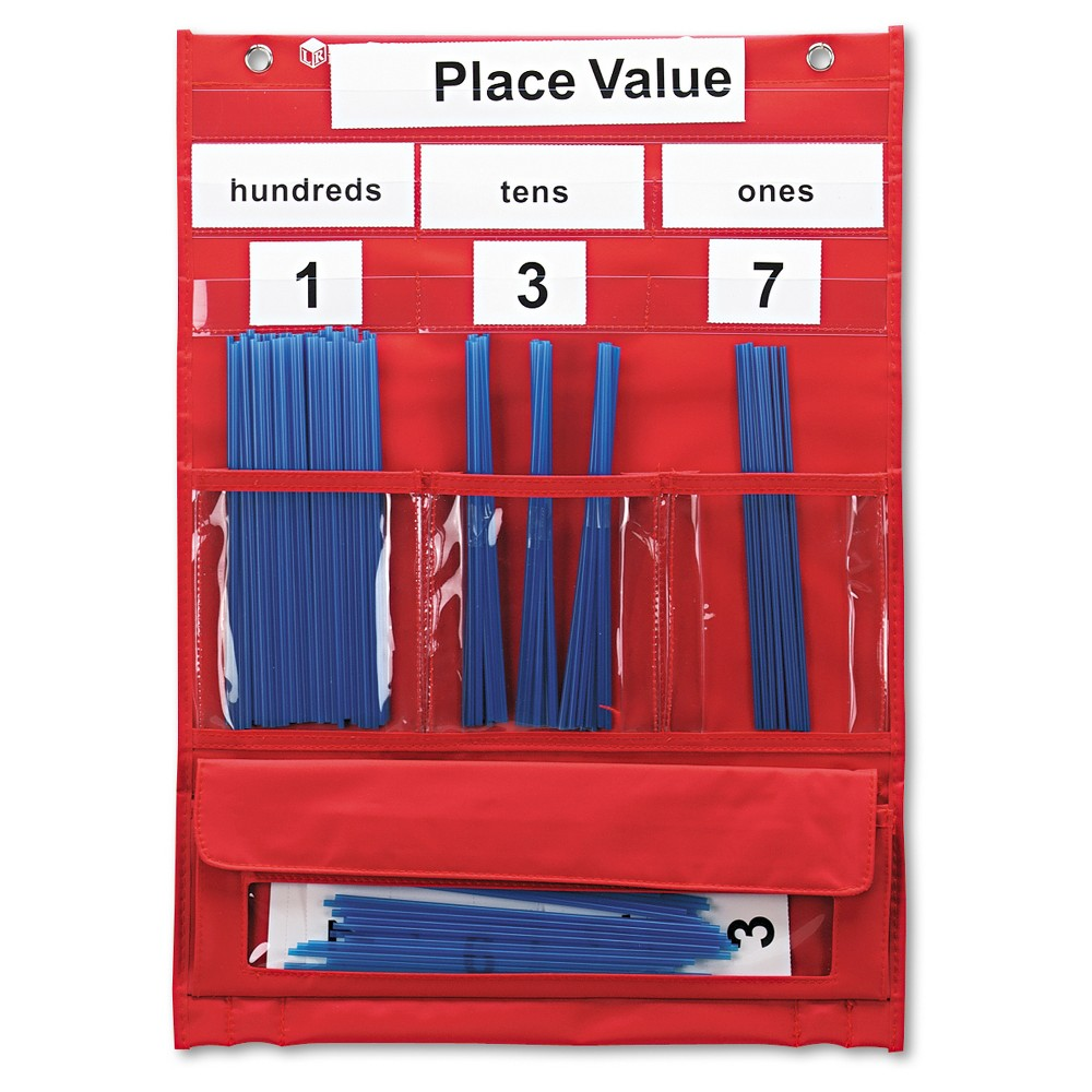 Learning Resources Counting and Place Value Pocket Chart with Cards, Straws, 13 x 17 3/4, Red