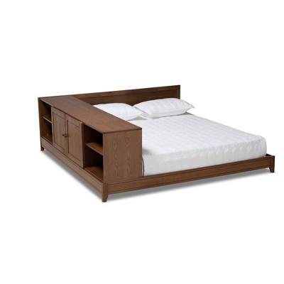 Queen Kaori Wood Platform Storage Bed Walnut - Baxton Studio
