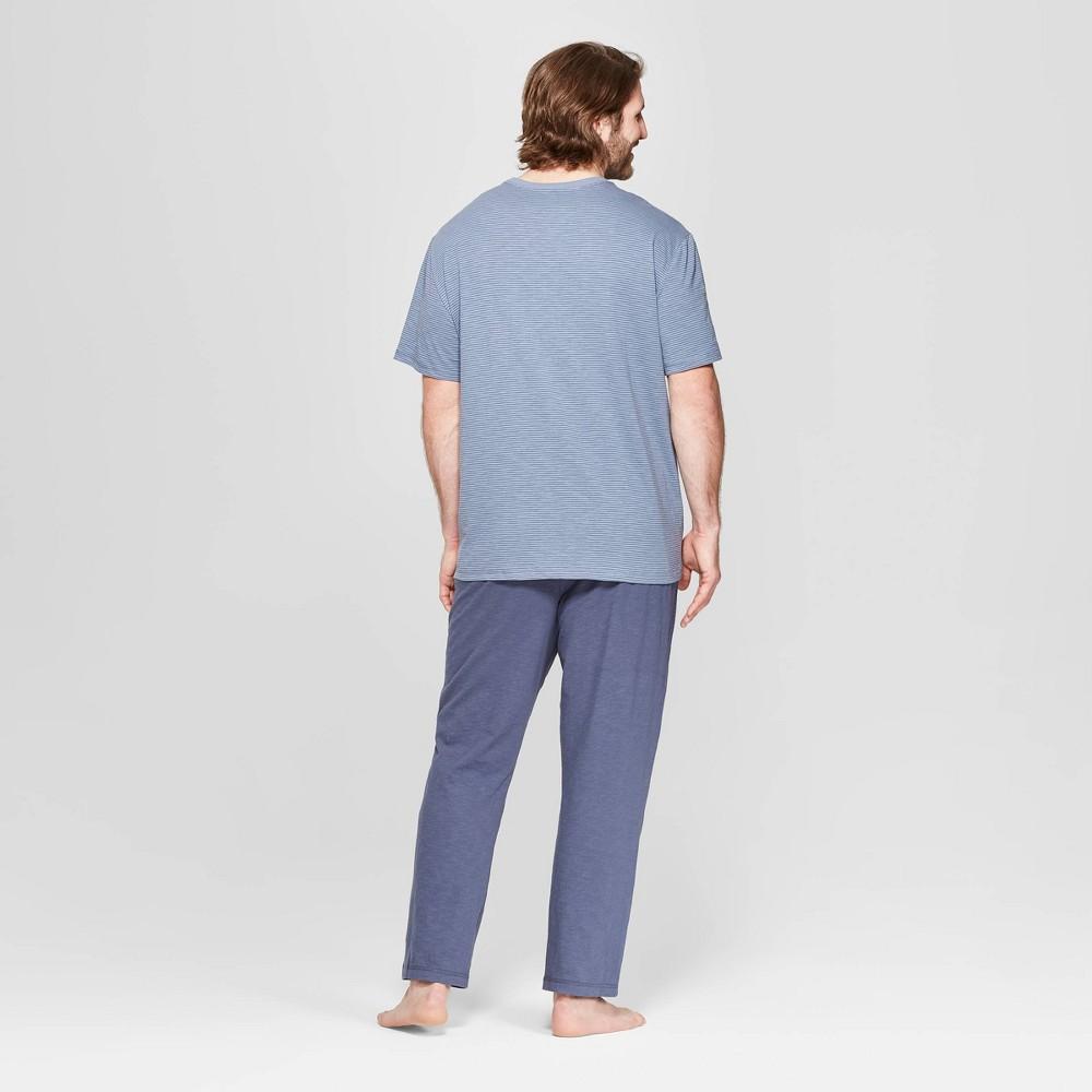 Men's Big & Tall Striped Knit Pajama Set - Goodfellow & Co Geneva Blue 5XBT