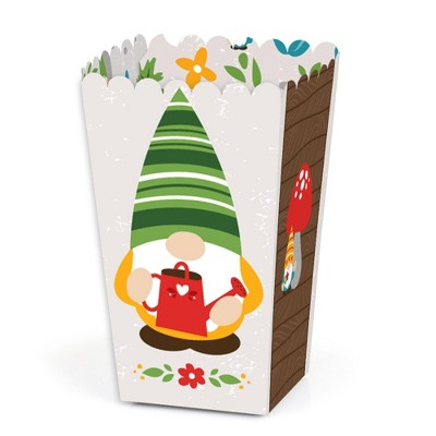 Big Dot of Happiness Garden Gnomes - Forest Gnome Party Favor Popcorn Treat Boxes - Set of 12