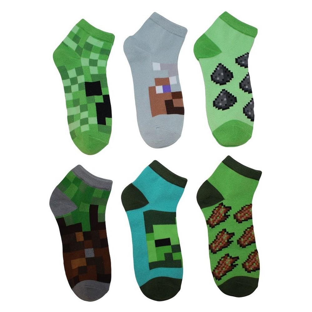 Image of Boys' Minecraft 5pk + 1 Bonus Pack Socks - M/L, Boy's, Size: Medium/Large, MultiColored