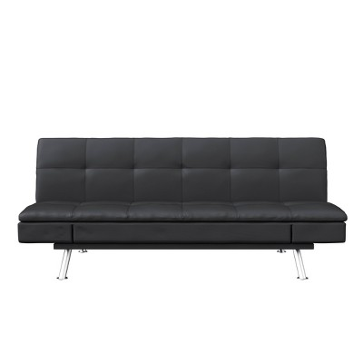 Noelle Faux Leather Convertible Sofa Black - Serta