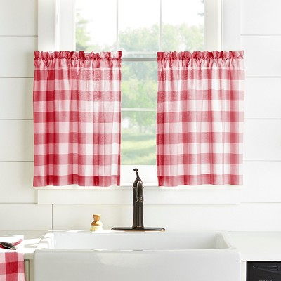 Farmhouse Living Buffalo Check Kitchen Tier Window Curtain Set of 2 - Elrene Home Fashions