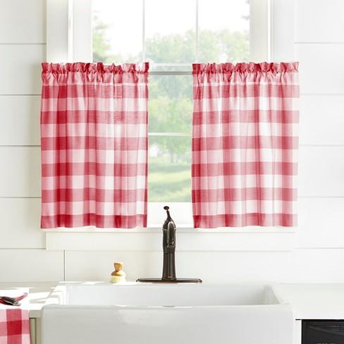 Farmhouse Living Buffalo Check Kitchen Tier Window Curtain Set Of 2 Elrene Home Fashions Target