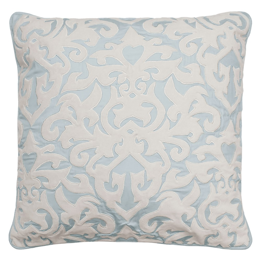 Image of Arlee Velvet Applique & Embroidered Throw Pillow Blue - Beautyrest