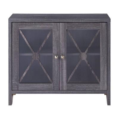Yanga 1 Shelf Accent Cabinet Distressed Gray - miBasics