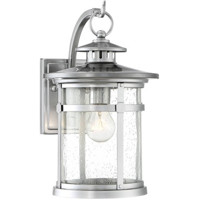 """Franklin Iron Works Industrial Outdoor Wall Light Fixture Chrome 11 1/2"""" Clear Seedy Glass Lantern for Exterior House Porch Patio"""