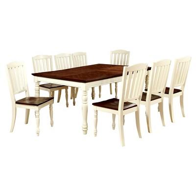 Merveilleux Sun U0026 Pine 9pc Cottage Style Dining Table Set Wood/Vintage White And Dark  Oak