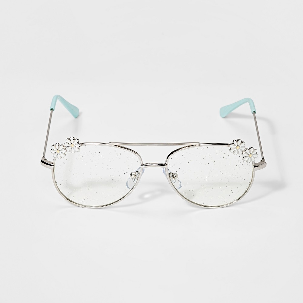 Image of Girls' Aviator Reading Glasses - Cat & Jack Silver