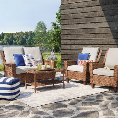 Etonnant 4pc All Weather Wicker Patio Conversation Set   Brown   Threshold™