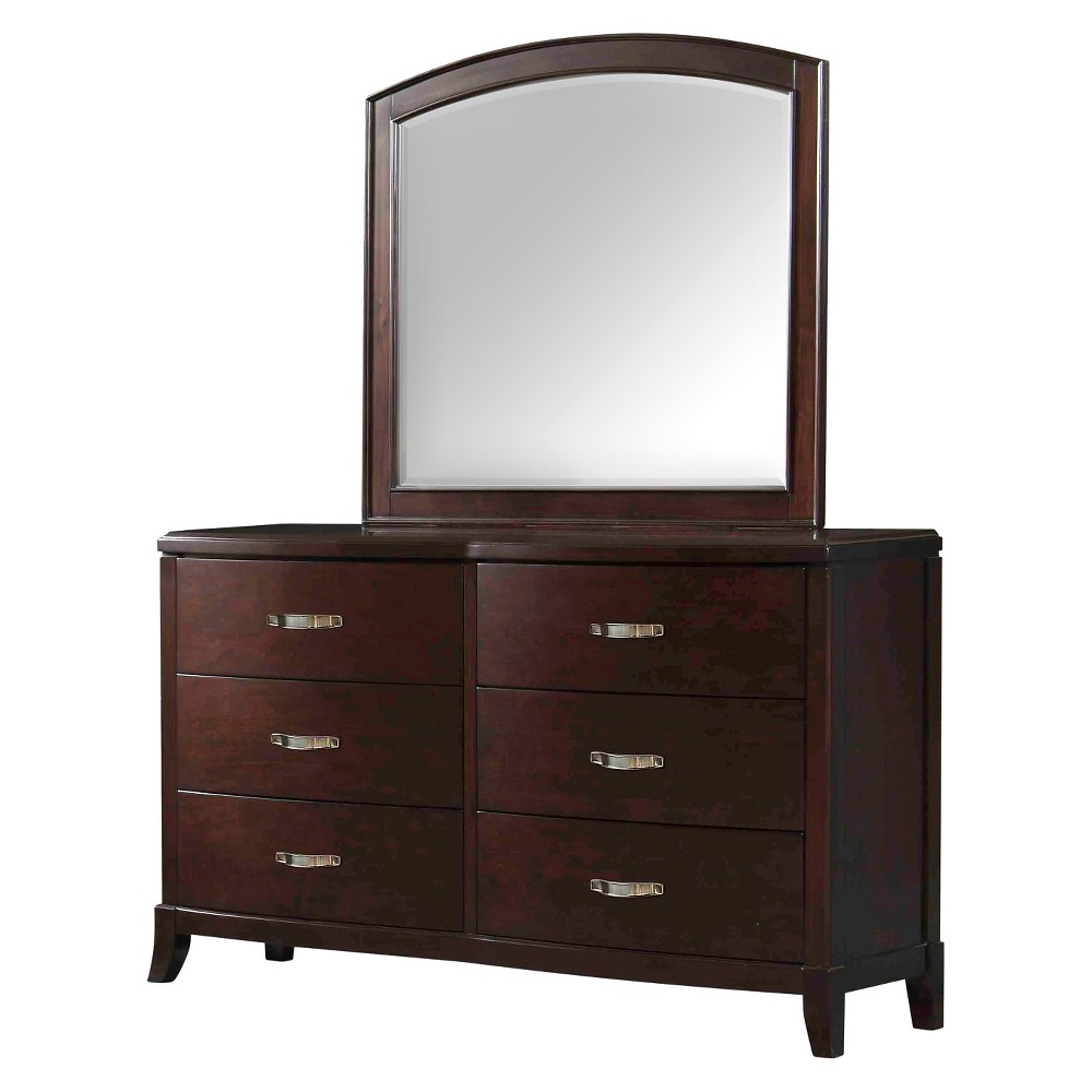 Dacey 6-Drawer Dresser and Mirror Combo Espresso - Picket House Furnishings, Brown