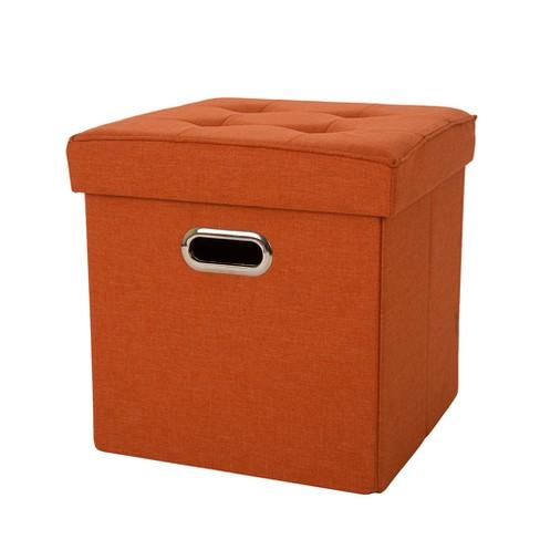 Tufted Linen Cube Foldable Storage Ottomans - Orange - Glitzhome - image 1 of 4