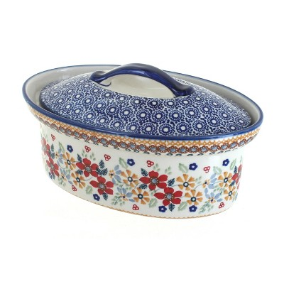 Blue Rose Polish Pottery Red Daisy Small Oval Covered Baker