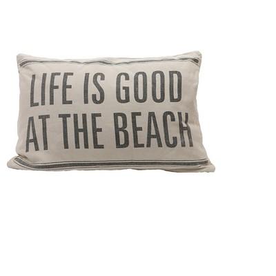 Cotton & Linen Throw Pillow  Life Is Good At The Beach  - 3R Studios