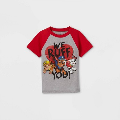 Toddler Boys' PAW Patrol 'We Ruff You' Valentine's Day Short Sleeve Graphic T-Shirt - Red