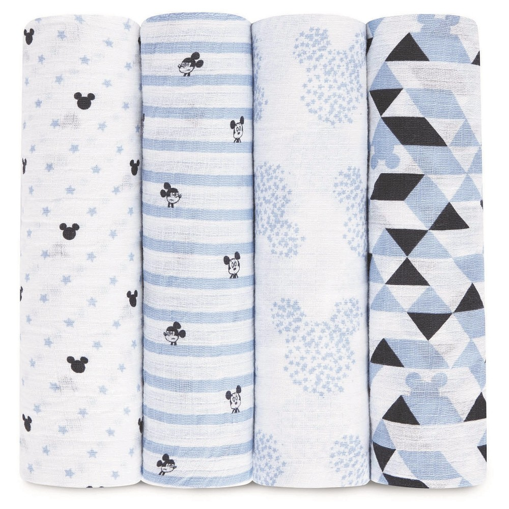 Image of Aden by Aden + Anais Muslin Swaddle - 4pk - Disney - Mickey