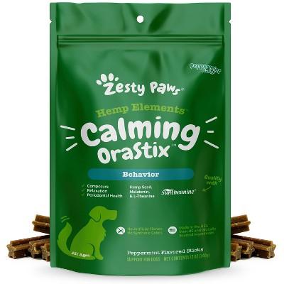 Zesty Paws Hemp Elements Behavior Calming Orastix for Dogs - Peppermint Flavor - 12oz