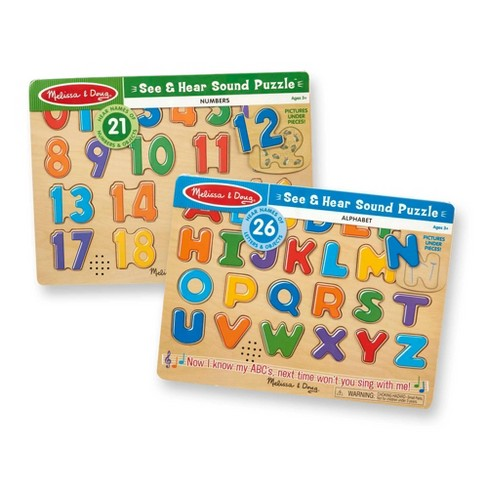 Melissa & Doug Sound Puzzles Set: Numbers and Alphabet - Wooden Peg Puzzles 47pc - image 1 of 4