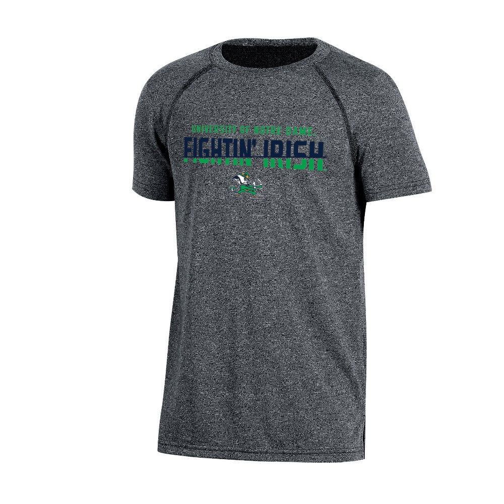 Notre Dame Fighting Irish Boys Short Sleeve Crew Neck Raglan Performance T-Shirt - Gray Heather M, Multicolored