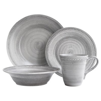 American Atelier Stone 16pc Dinnerware Set - Gray Solid