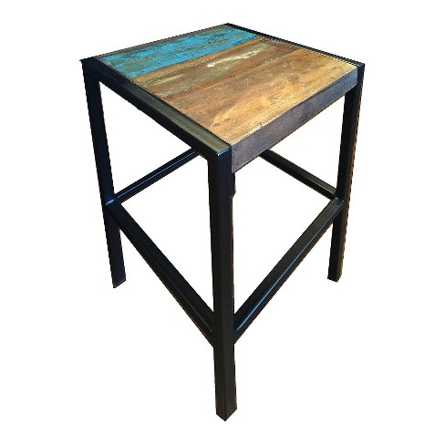 Industrial Reclaimed Wood and Iron Stool - (26H x 14W x 14D) - Natural - Timbergirl - image 1 of 4