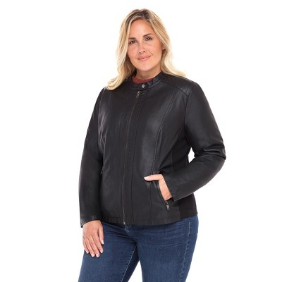 Sebby Collection Women's Plus Faux Leather Racing Jacket