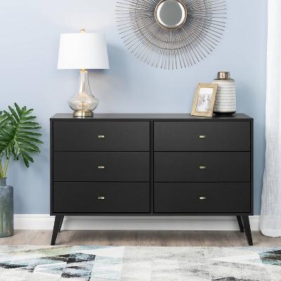 Mid Century Modern 6 Drawer Dresser Black - Prepac
