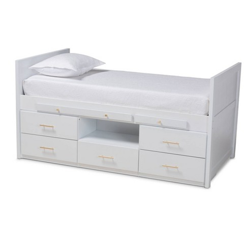 Twin 5 Drawer Mirza Wood Storage Bed, White Twin Storage Bed Drawers