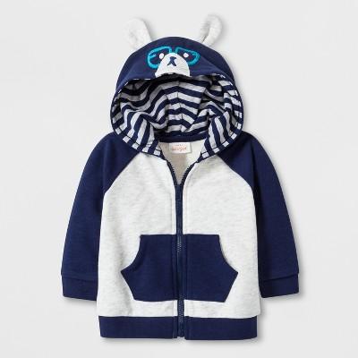 Baby Boys' Critter Hooded Sweatshirt with Kangaroo Pocket - Cat & Jack™ Navy 18M