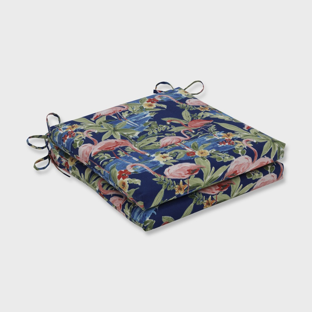 2pk Flamingoing Lagoon Squared Corners Outdoor Seat Cushion Blue Pillow Perfect