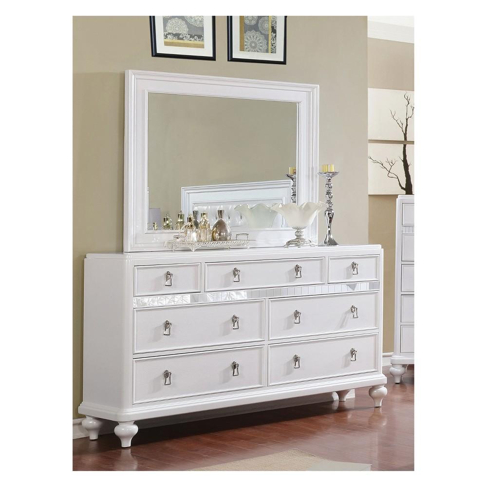 Iohomes Arehart Contemporary Mirror Trim Dresser And Mirror Set White - Homes: Inside + Out