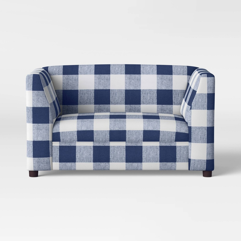 Image of Buffalo Check Kids Upholstered Sofa Navy/White - Pillowfort
