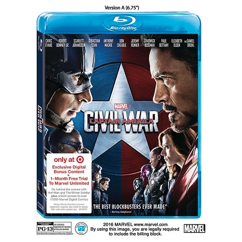 Marvel's Captain America: Civil War (Target Exclusive/Blu-ray + Comic Download) - image 1 of 1