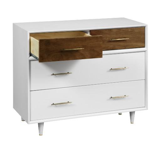 Babyletto Eero 4 Drawer Dresser White Natural Walnut