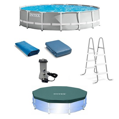 Intex 26723EH 15ft x 42in Prism Frame Above Ground Swimming Pool Set with Debris Cover, Ladder, and 120V 1,000 GPH Cartridge Filter Pump