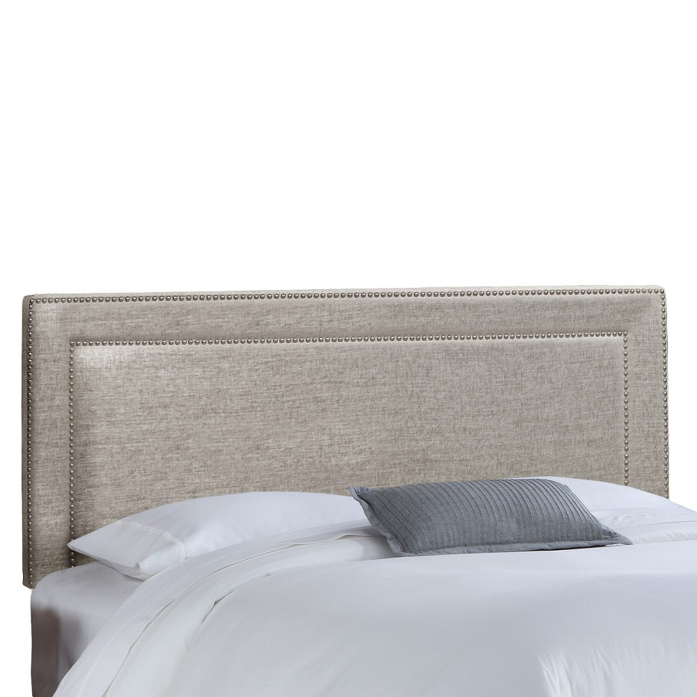 King Fremont Nail Button Border Headboard Pewter (Silver) - Skyline Furniture