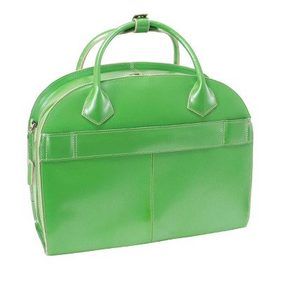 'McKlein Glen Ellyn 15'' Leather Patented Detachable - Wheeled Ladies' Laptop Briefcase (Green), Women's, Size: Small'