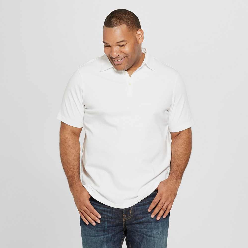 Men's Big & Tall Short Sleeve Elevated Ultra-Soft Polo Shirt - Goodfellow & Co True White Opaque 2XB