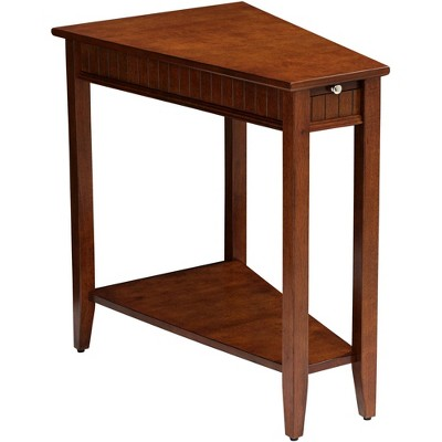 "Elm Lane Bentley-II 16"" Wide Cherry Wood Wedge Accent Table"