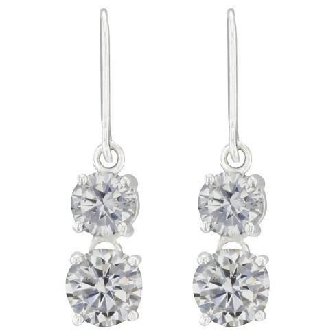 Drop Dangle Earrings Sterling Two Cubic Zirconia Drop on a Fishhook - Silver/Clear - image 1 of 1