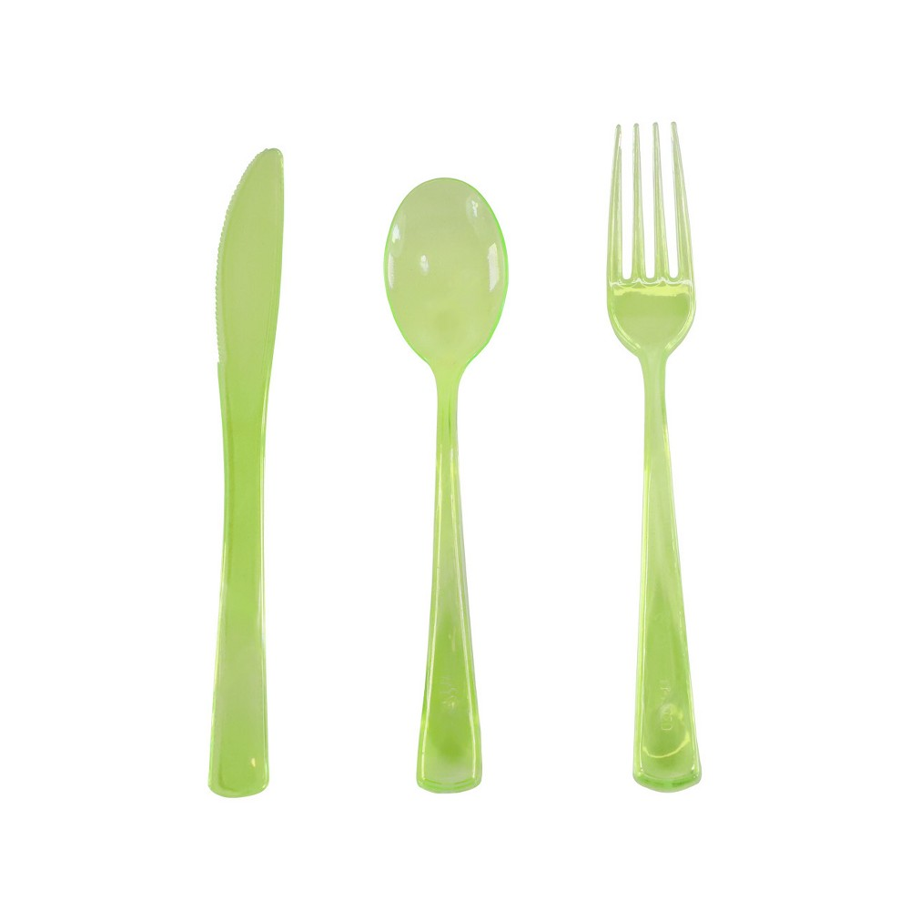 24pc Easter Plastic Green Cutlery Set - Spritz