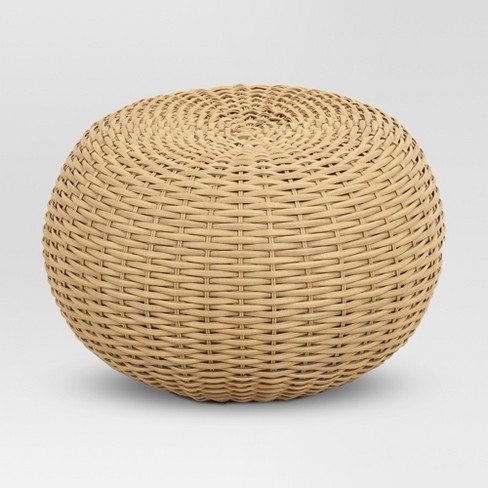 Wicker Patio Pouf - Brown - Threshold™ - image 1 of 4