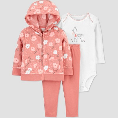 Baby Girls' Floral Llama Fleece Top & Bottom Set - Just One You® made by carter's Pink 3M