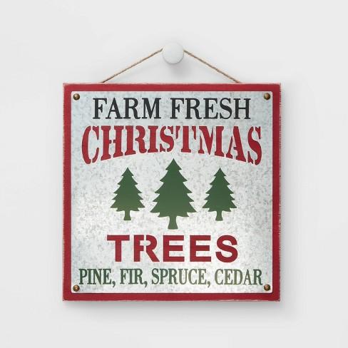 "12"" Farm Fresh Christmas Trees Wall Sign - Wondershop™ - image 1 of 1"