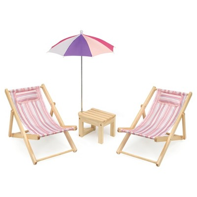 Badger Basket Two Doll Beach Chair Set with Table and Umbrella - Summer Stripes